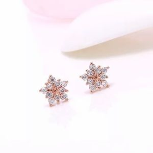 🆕925 Sterling Silver CZ Rose Gold Snowflake Studs
